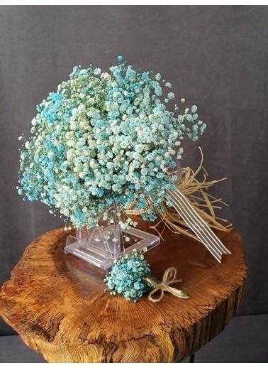 Kuru Çiçek Deposu Gelin Buketi Mavi Cipsolu 2'Li Set Mavi